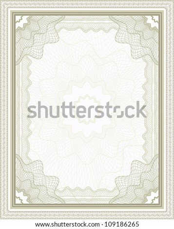 Brown guilloche frame for certificate, diploma or banknote - stock vector