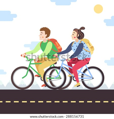 Brown-haired boy and red brunette girl on bikes. Vector illustration and background. - stock vector