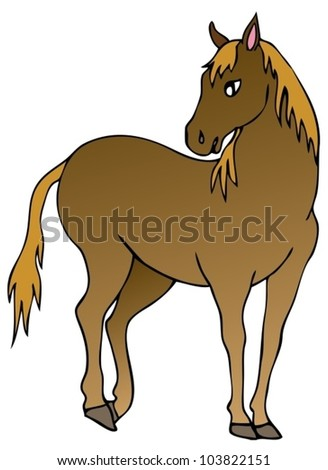 Brown horse on white background - vector illustration.