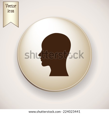 Brown icon on the round button with shadow. Vector illustration of a silhouette head - stock vector