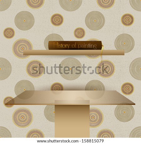 Brown interior design. Bookshelf and table. Modern stylish texture. Repeating spiral abstract background wallpaper. - stock vector