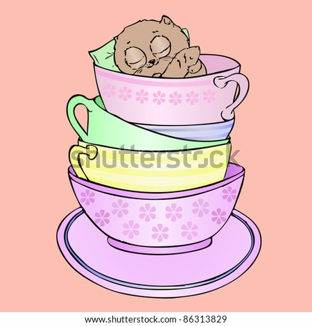 Brown Kittens lipping  in Tea  Coffee Mugs - stock vector
