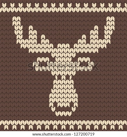Brown knitted deer sweater - stock vector