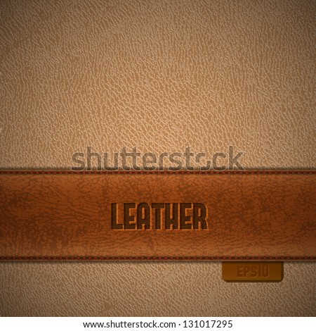Brown leather stripe on beige leather background - eps10 - stock vector