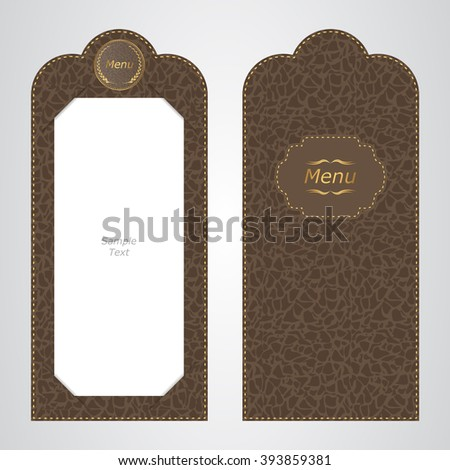 Brown leather VIP folder menu of the restaurant, the view from both sides. Vector - stock vector