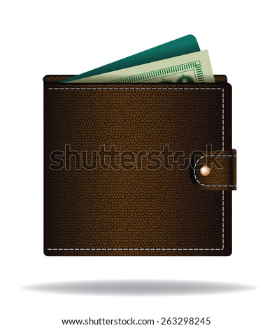 Brown leather wallet with cash and credit card EPS 10 vector royalty free illustration for ad, marketing, poster, icon, social media, e-commerce, web page, apps, signage
