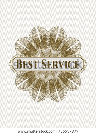 Brown linear rosette with text Best Service inside