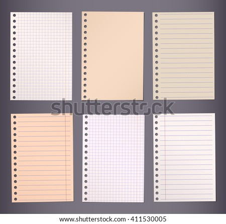 Brown lined and squared notebook paper are stuck on dark background