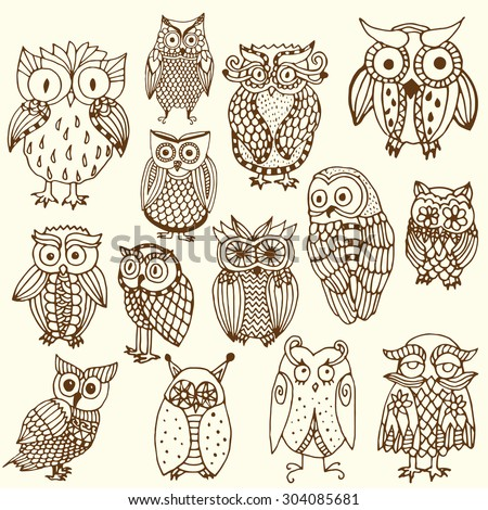 Brown little owls - Funny owl illustration- multiple owl variations (original drawing vectorized)  - stock vector
