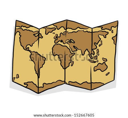 brown map paper / cartoon vector and illustration, isolated on white background.
