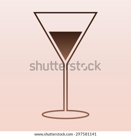 Brown Martini Glass Icon - stock vector