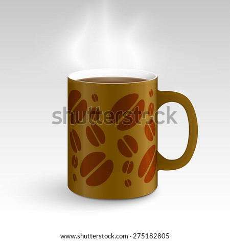 Brown mug with coffee design, vector - stock vector