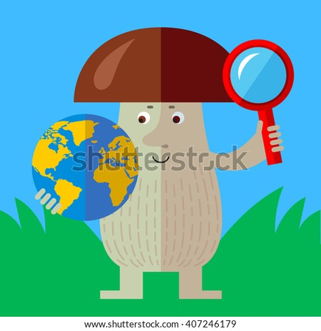 Brown mushroom with magnifier glass and globe. Global search. Flat style vector illustration. Funny cartoon character , forest mushroom, wild cep, fungus