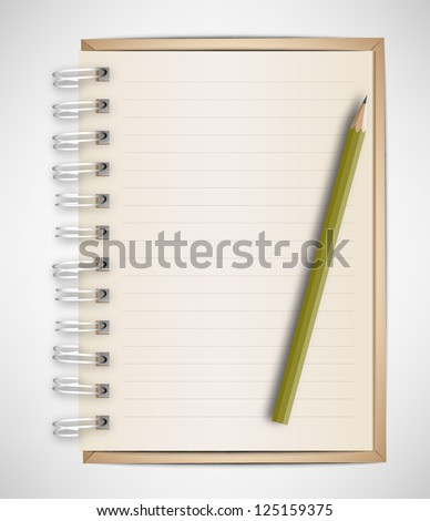 Brown Notebook and Pencil Vector - stock vector