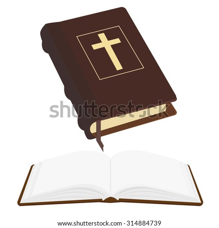Brown old holy bible with gold cross vector icon isolated, religious bookstore, closed and opened book - stock vector