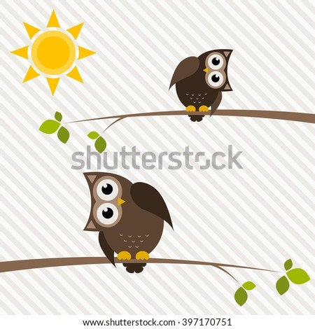 brown owl and owlet on the tree - stock vector