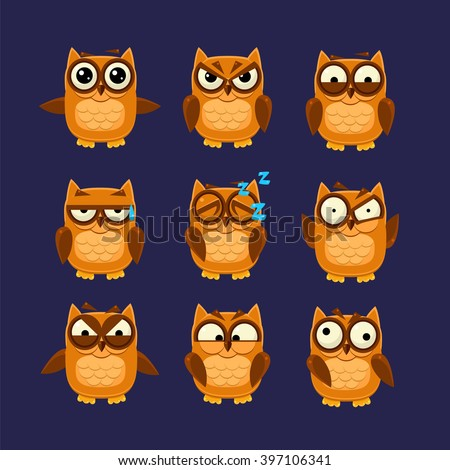 Brown Owl Emoji Collection Flat Vector Cartoon Style Funny Drawing On Dark Blue Backgroud - stock vector