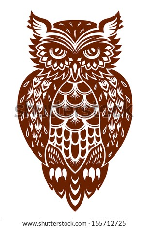 Brown owl in ornamental style for mascot or another design. Jpeg (bitmap) version also available in gallery - stock vector