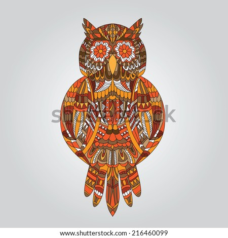 Brown owl in ornamental style for mascot or another design - Vector  - stock vector
