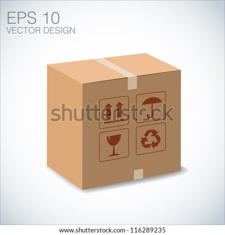 brown package for shipping order and sign. - stock vector