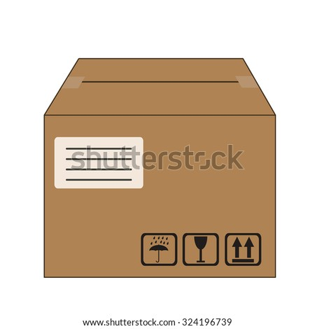 brown packed cardboard box with address label and package handling icons - stock vector