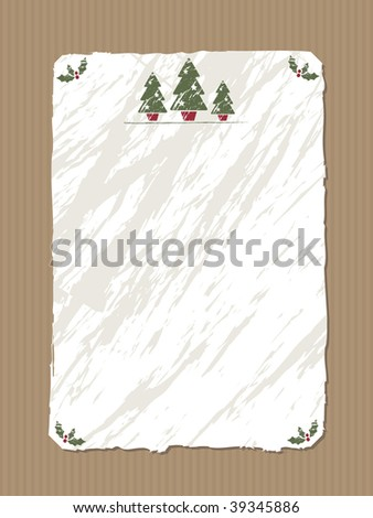 brown paper background with blank white crumpled paper and christmas motifs - stock vector