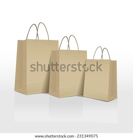 brown paper bags set isolated on white background  - stock vector