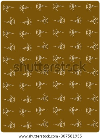 Brown paper note with coffee cups - stock vector