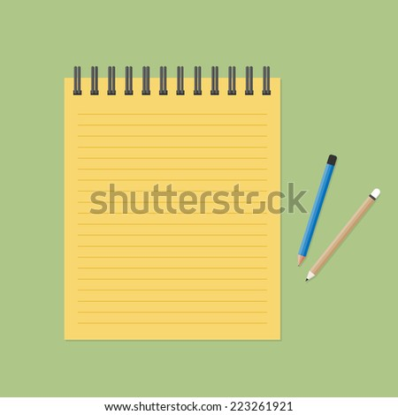 Brown paper note with pencil - stock vector