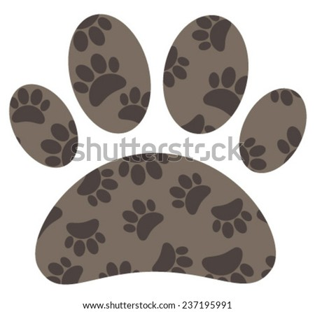 brown paw pattern icon - stock vector
