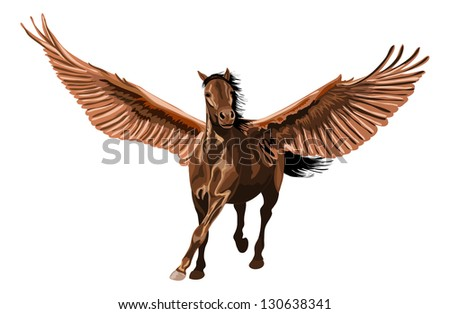 brown pegasus horse galloping with open wings. - stock vector