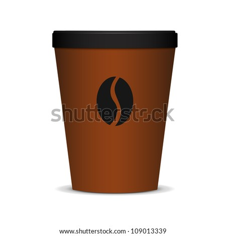 Brown Plastic coffee cup with lid and coffee bean. - stock vector