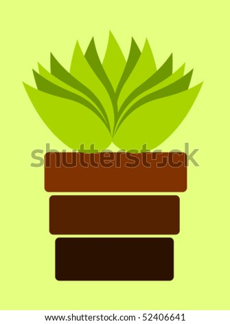 Brown pot with plant on light green background - stock vector