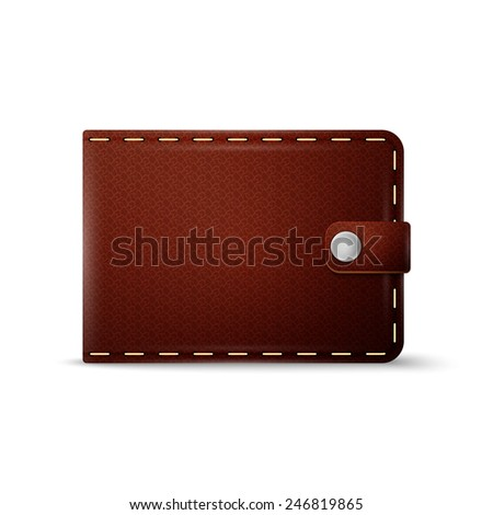 Brown purse on a white background, excellent vector illustration, EPS 10