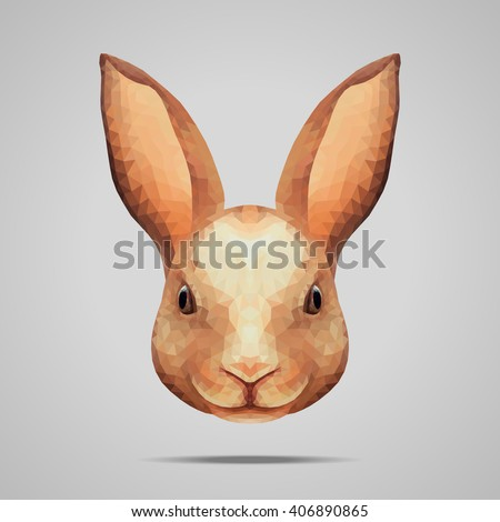 Brown rabbit portrait low poly. Low poly design. Abstract polygonal illustration. - stock vector