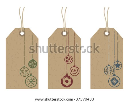 brown recycled tags with festive decoration stamps - stock vector