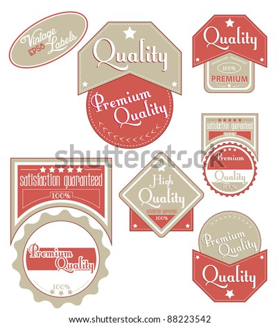 Brown-red quality labels. Vector illustration. - stock vector
