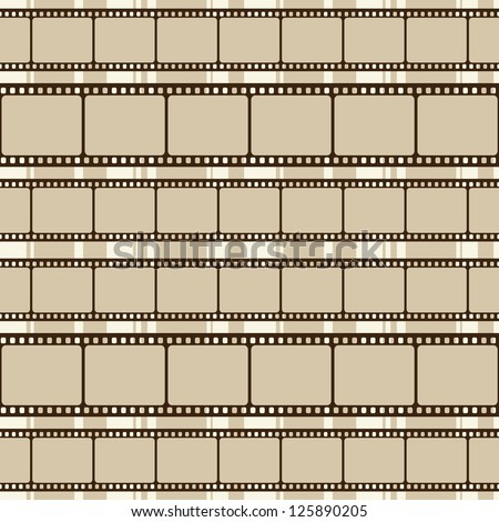 Brown retro background with film strips - stock vector