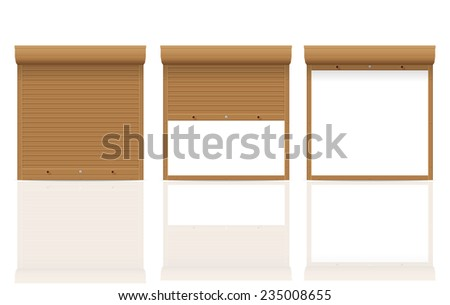 brown rolling shutters vector illustration isolated on white background - stock vector