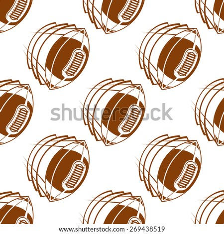 Brown rugby balls seamless pattern showing flying american football balls with traditional lacing on white background for fabric or wrapping design  - stock vector