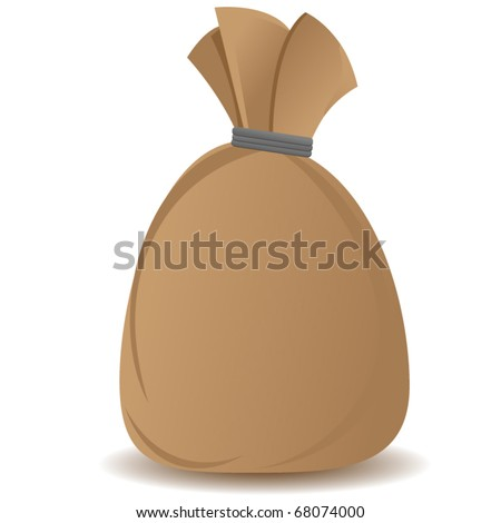 brown sack with slight shadow isolated on white background - stock vector
