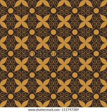 Brown seamless decorative pattern with flourishes - stock vector