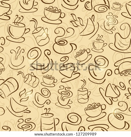 Brown Seamless Pattern with Coffee and Tea Cups. Vector Background Illustration. - stock vector