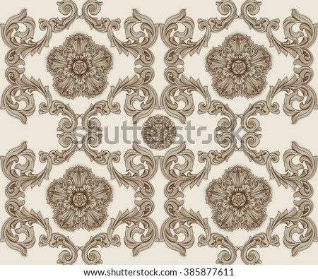 Brown seamless pattern with flower and Ornaments in Baroque Style. Baroque Wallpaper. Baroque Design. Baroque Background.  - stock vector
