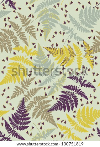 Brown seamless pattern with scattered fern leaves - stock vector