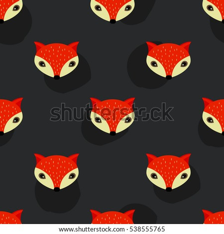 Brown Seamless Pattern with Simple Foxes. Flat Stylized Vector Background.