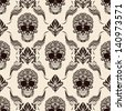 Brown Skull Pattern - stock photo
