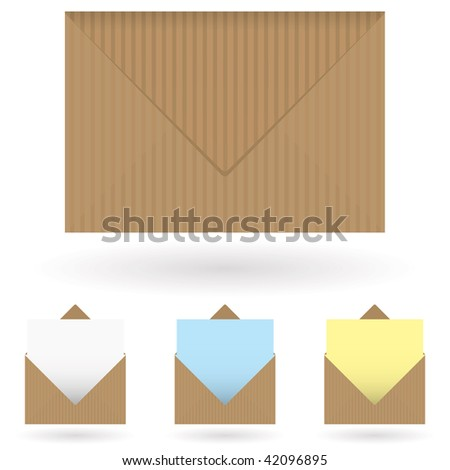 Brown striped envelope with shadow and single piece of paper - stock vector