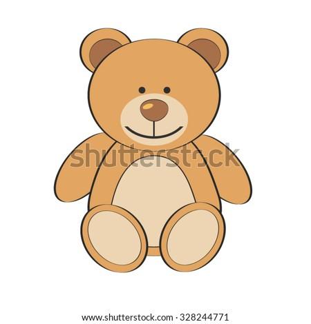 Brown Teddy Bear isolate on white background, Cute bear, Bea Cartoon Character - Cartoon Clip Art - stock vector