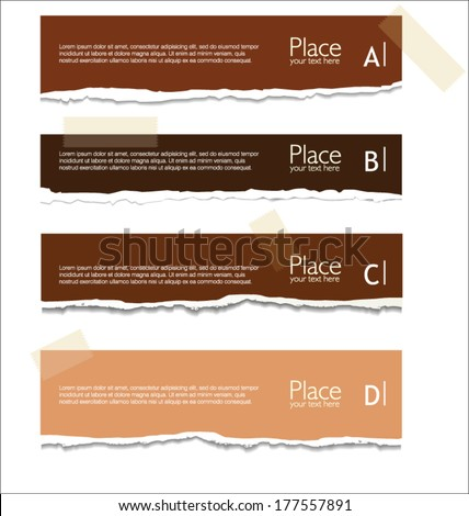 Brown torn paper with space for text - stock vector